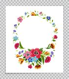 Kwiat rama Szablon dla zaproszenia, kartka z pozdrowieniami, pokrywa, notatnik kwiat kolorowa rama Elegancki kwiecisty wianek Obrazy Stock