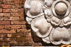 Kwiat rzeźba na ścianie Obraz Stock