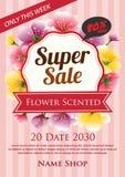 Kwiat sprzedaży perfumowy super plakat royalty ilustracja