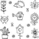 Kwiat ustalona wiosna doodles ilustracji