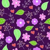 Kwiat wiosny purpur bezszwowy wzór dla płytek tapetowych i tekstylnych Fotografia Stock