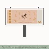 Kwiat z pszczołą na billboardzie 4 ilustracja wektor