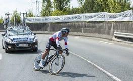 骑自行车者米哈拉Kwiatkowski -环法自行车赛2014年 免版税图库摄影