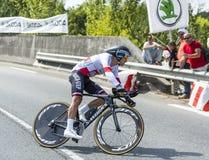 骑自行车者米哈拉Kwiatkowski -环法自行车赛2014年 库存照片