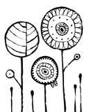 Kwiatu abstrakt Backround Czarnej ręki Rysujący obrazek na bielu royalty ilustracja