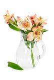 Kwiatu alstroemeria w szklanej wazie Zdjęcie Stock