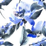kwiatu błękitny wzór Obrazy Stock
