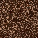 Kwiatu brązu koloru tkaniny bezszwowy wzór royalty ilustracja