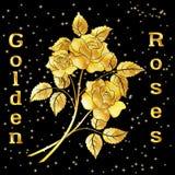 Kwiatu bukiet, Złote róże Fotografia Royalty Free