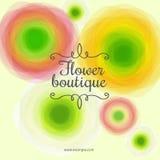 Kwiatu butika logo Piękni listy i kędziory na tle z kwiatami Ślubny salonu logo royalty ilustracja