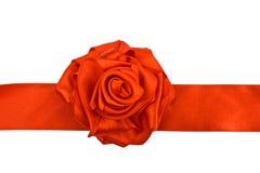 kwiatu czerwonego faborku różany atłas Obrazy Royalty Free