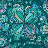 Kwiatu cztery kreskowego rysunku bezszwowy wzór Zdjęcia Royalty Free