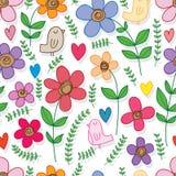 Kwiatu doddle ptaka zieleni liścia bezszwowy wzór Royalty Ilustracja