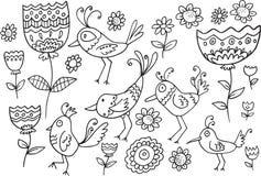 Kwiatu Doodle Ptasi set ilustracji