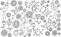 Kwiatu Doodle Ptasi set Zdjęcie Royalty Free