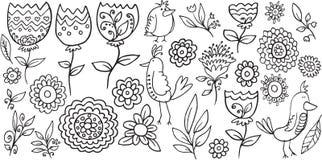 Kwiatu Doodle Ptasi wektor Zdjęcie Stock