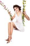 kwiatu dziewczyny huśtawki chlanie Zdjęcie Stock