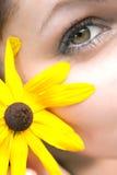 kwiatu dziewczyny kolor żółty Zdjęcie Stock