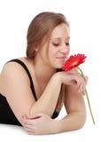 kwiatu dziewczyny mienia czerwień Obraz Royalty Free