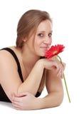 kwiatu dziewczyny mienia czerwień Obrazy Royalty Free