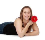 kwiatu dziewczyny mienia czerwień zdjęcia royalty free