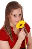kwiatu dziewczyny mienia czerwień fotografia stock