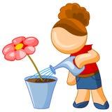 kwiatu dziewczyny podlewanie Obraz Royalty Free