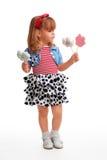 kwiatu dziewczyny szczęśliwi trwanie cukierki Zdjęcie Stock