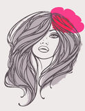 kwiatu dziewczyny z włosami długi portreta wektor Obrazy Stock