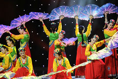 Kwiatu fan taniec ---Koreański taniec Fotografia Stock