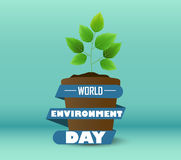 Kwiatu garnek z błękitnym faborkiem kształt kurenda dla światowego środowiska dnia ilustracji