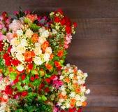Kwiatu i drewna tło Fotografia Stock