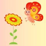 Kwiatu i motyla ilustracja na Różowym tle Obrazy Stock