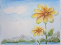 Kwiatu i nieba tła ręka Malująca ilustracja royalty ilustracja