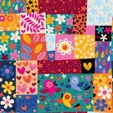 Kwiatu i ptaków wzór Zdjęcie Stock
