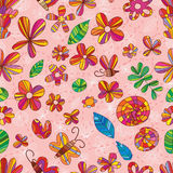 Kwiatu insekta koloru bezszwowy wzór Zdjęcia Stock