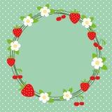 Kwiatu & jagody rama Obrazy Stock