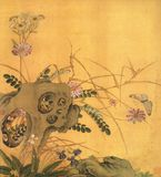 Kwiatu kamień i motyl fotografia royalty free