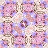Kwiatu kwadrat, linie, wzór od płytek i granica w różowych ans lilas i, Zdjęcie Stock