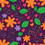 Kwiatu liścia fajerwerku bezszwowy wzór Zdjęcie Royalty Free