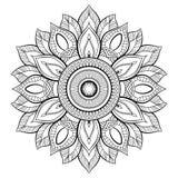 Kwiatu mandala motywy elementu dekoracyjny rocznik Orientała wzór, wektorowa ilustracja Kolorystyki książki strona Zdjęcia Stock