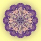 Kwiatu mandala z żółtym tłem kwiecisty ornamental kwiecisty wzór Zdjęcie Royalty Free
