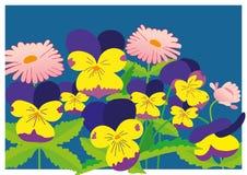 Kwiatu meadow/błękitni i różowi kwiaty ilustracji