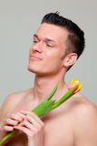 kwiatu miłości mężczyzna Obraz Royalty Free