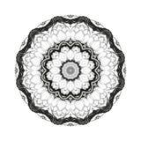 Kwiatu monochromatyczny botaniczny wektorowy mandala z kwitnie lotosem odizolowywa na białym tle Strona dla barwić Obraz Stock
