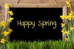 Kwiatu narcyz, Chalkboard, tekst Szczęśliwa wiosna Zdjęcia Royalty Free
