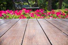 Kwiatu ogród i drewno most Obraz Stock