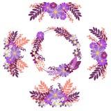 Kwiatu ornamentu okręgu grupy W minimalisty stylu Płaski isometric wektor royalty ilustracja