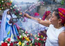 Kwiatu & palmy festiwal w Panchimalco, Salwador Obraz Stock