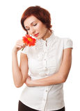 kwiatu piękny gerbera wręcza jej kobiety Zdjęcie Stock